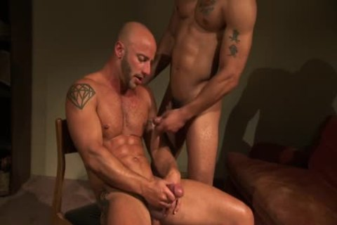 Bald muscular Hunk ejaculated
