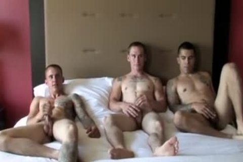 Tattoo Military three-some With cumshot