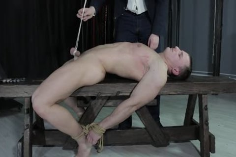 tasty man tied Down, Balls Strung Up And Spanked